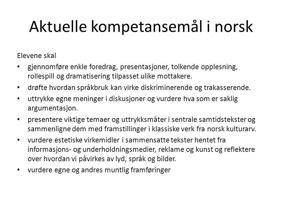 Aktuelle kompetansemål i norsk Elevene skal • gjennomføre enkle foredrag, presentasjoner, tolkende opplesning, rollespill og dramatisering tilpasset u