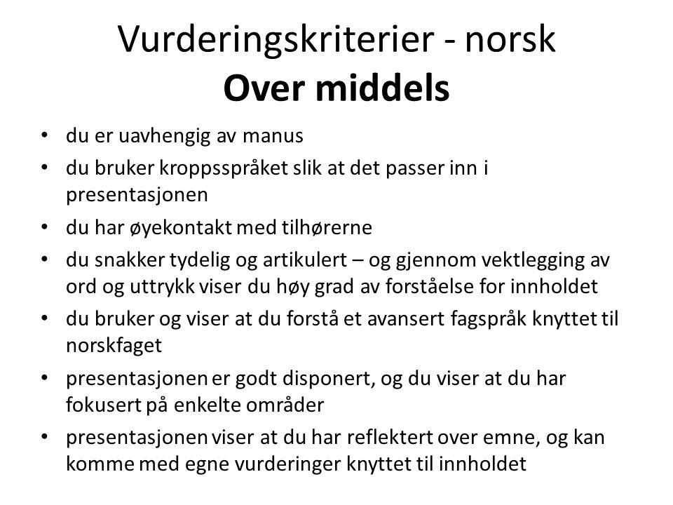 Vurderingskriterier - norsk Over middels • du er uavhengig av manus • du bruker kroppsspråket slik at det passer inn i presentasjonen • du har øyekont