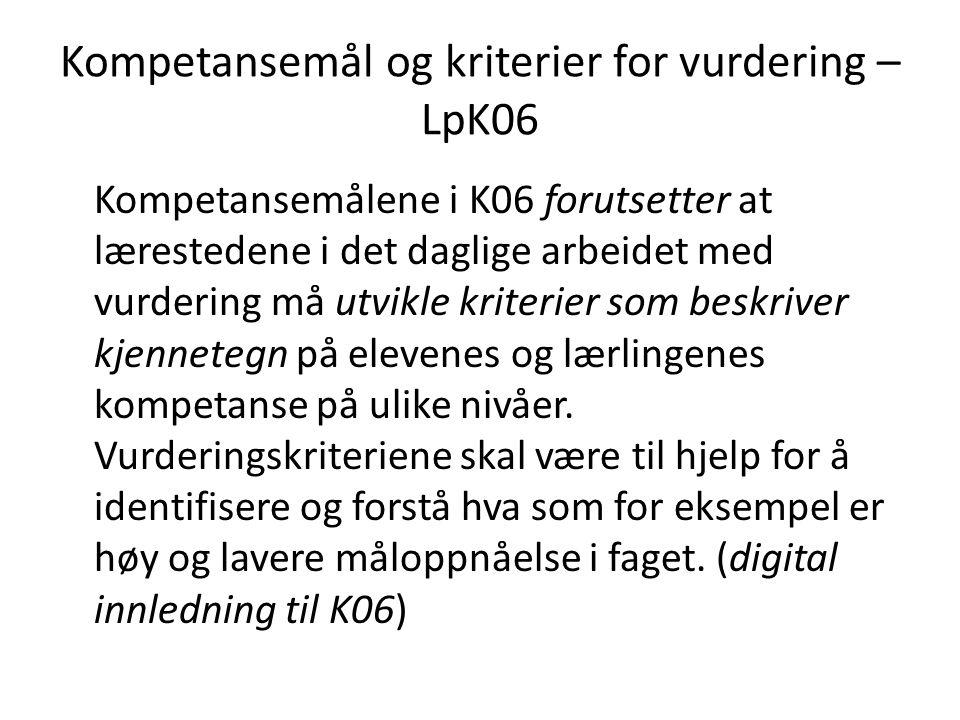 Kompetansemål og kriterier for vurdering – LpK06 Kompetansemålene i K06 forutsetter at lærestedene i det daglige arbeidet med vurdering må utvikle kri
