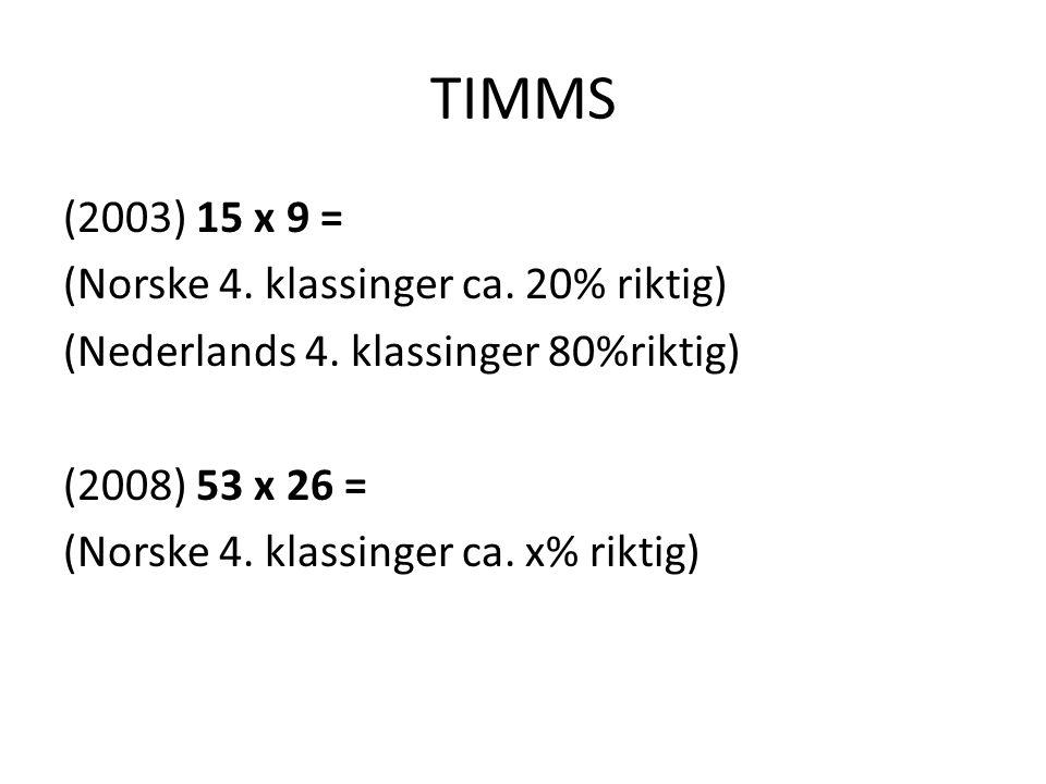 TIMMS (2003) 15 x 9 = (Norske 4. klassinger ca. 20% riktig) (Nederlands 4. klassinger 80%riktig) (2008) 53 x 26 = (Norske 4. klassinger ca. x% riktig)