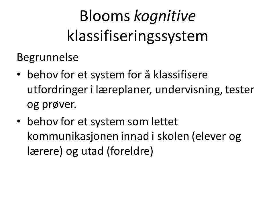 Blooms kognitive klassifiseringssystem Begrunnelse • behov for et system for å klassifisere utfordringer i læreplaner, undervisning, tester og prøver.