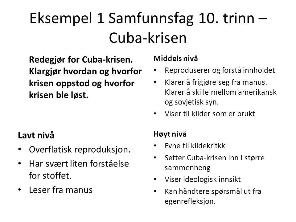 Eksempel 1 Samfunnsfag 10. trinn – Cuba-krisen Redegjør for Cuba-krisen. Klargjør hvordan og hvorfor krisen oppstod og hvorfor krisen ble løst. Middel
