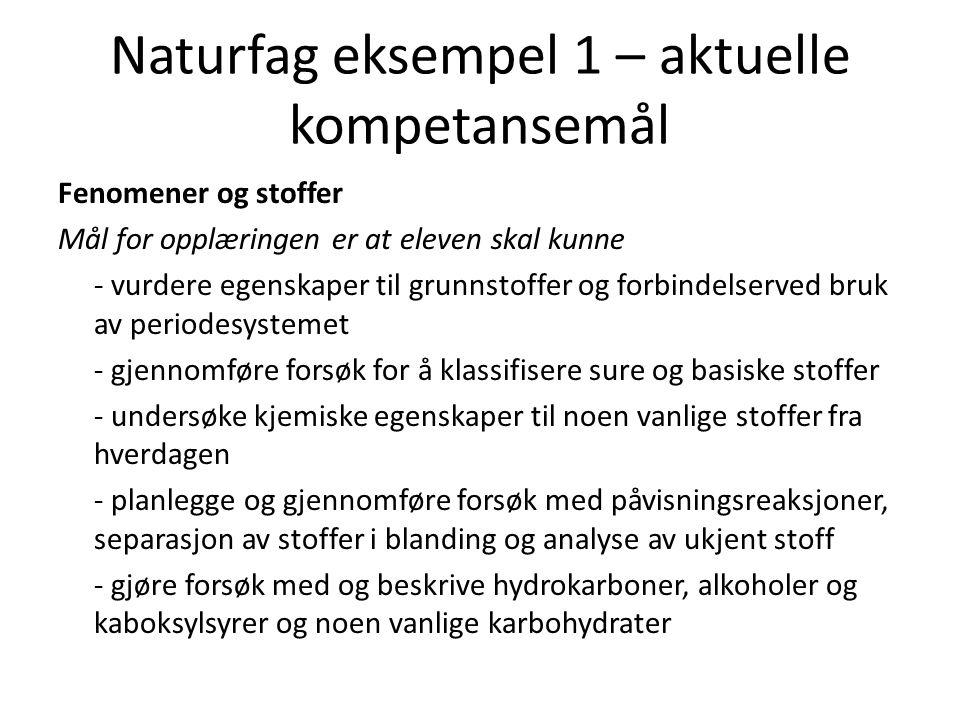 Naturfag eksempel 1 – aktuelle kompetansemål Fenomener og stoffer Mål for opplæringen er at eleven skal kunne - vurdere egenskaper til grunnstoffer og