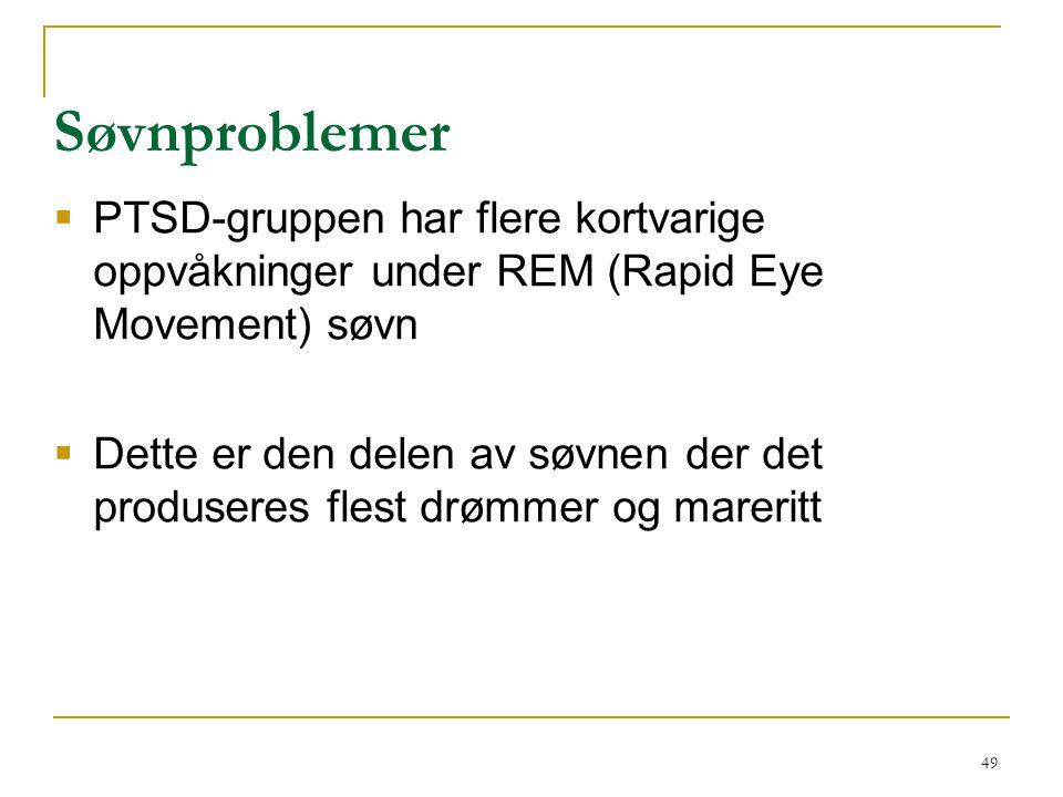 49 Søvnproblemer  PTSD-gruppen har flere kortvarige oppvåkninger under REM (Rapid Eye Movement) søvn  Dette er den delen av søvnen der det produsere