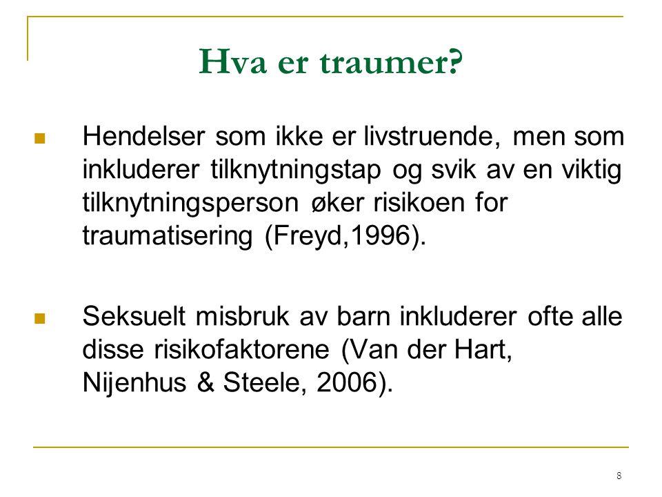 39 Kriterie D: Symptomer på overaktivering  Konsekvens: problemer med å vende tilbake til en normaltilstand  spesielt i situasjoner hvor en ble holdt fast  f.eks.