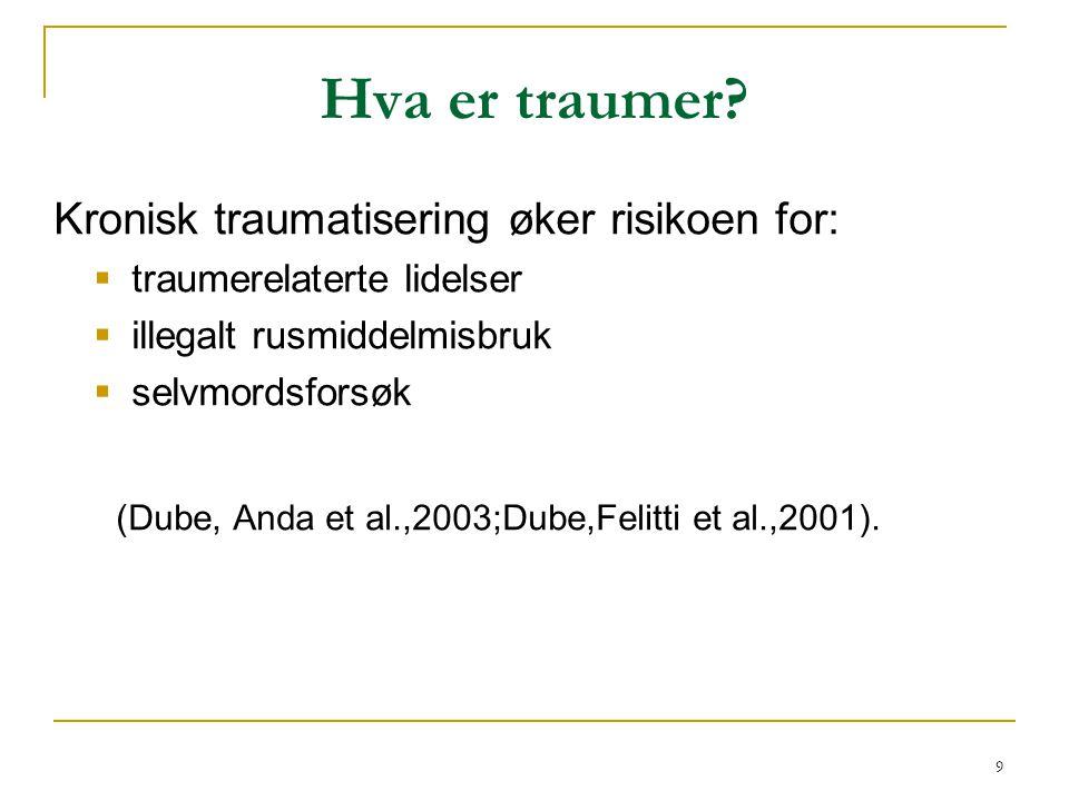 9 Hva er traumer? Kronisk traumatisering øker risikoen for:  traumerelaterte lidelser  illegalt rusmiddelmisbruk  selvmordsforsøk (Dube, Anda et al