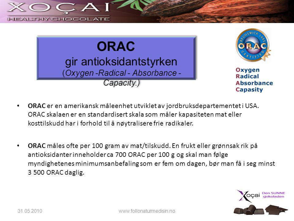 31.05.2010www.follonaturmedisin.no • ORAC er en amerikansk måleenhet utviklet av jordbruksdepartementet i USA. ORAC skalaen er en standardisert skala