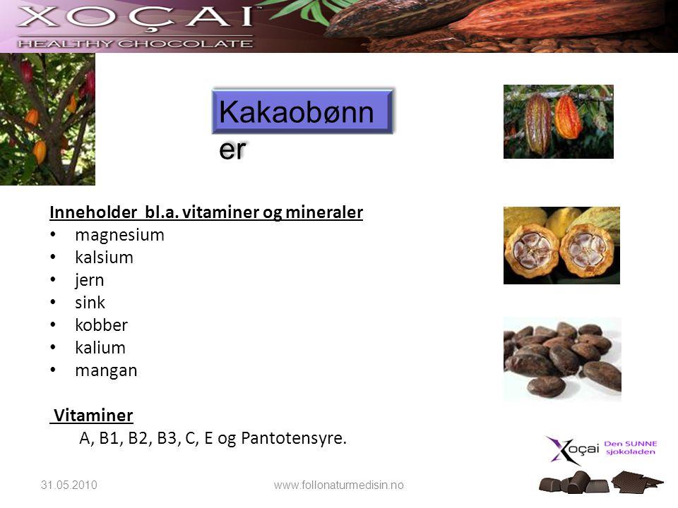 Inneholder bl.a. vitaminer og mineraler • magnesium • kalsium • jern • sink • kobber • kalium • mangan Vitaminer A, B1, B2, B3, C, E og Pantotensyre.