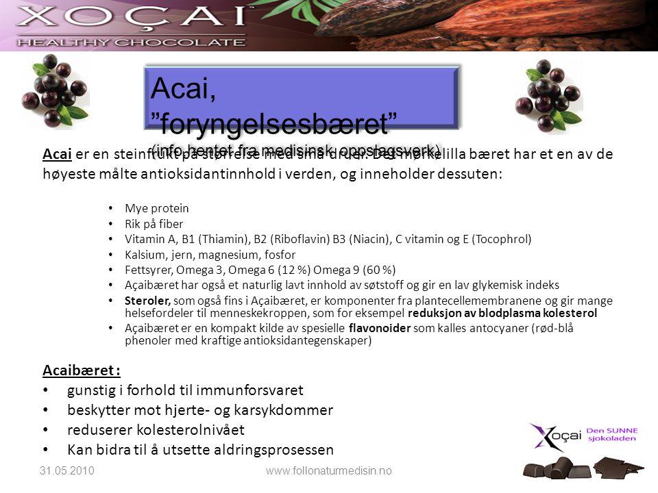 Acai er en steinfrukt på størrelse med små druer. Det mørkelilla bæret har et en av de høyeste målte antioksidantinnhold i verden, og inneholder dessu