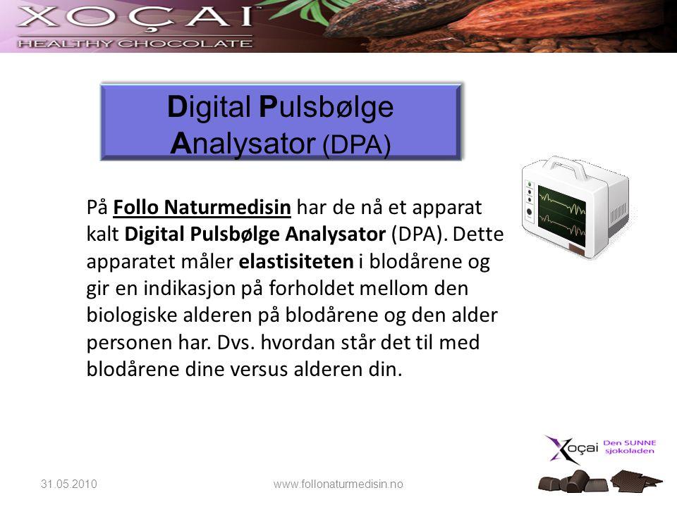 31.05.2010www.follonaturmedisin.no På Follo Naturmedisin har de nå et apparat kalt Digital Pulsbølge Analysator (DPA). Dette apparatet måler elastisit