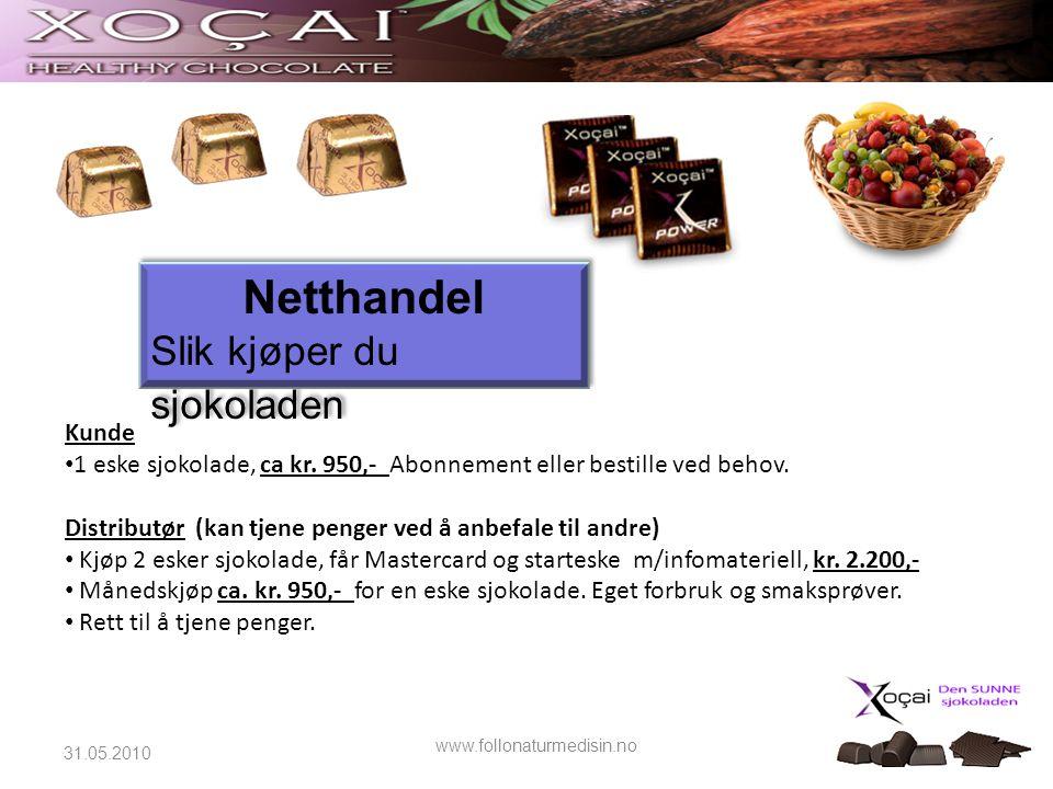 22 Kunde • 1 eske sjokolade, ca kr. 950,- Abonnement eller bestille ved behov. Distributør (kan tjene penger ved å anbefale til andre) • Kjøp 2 esker