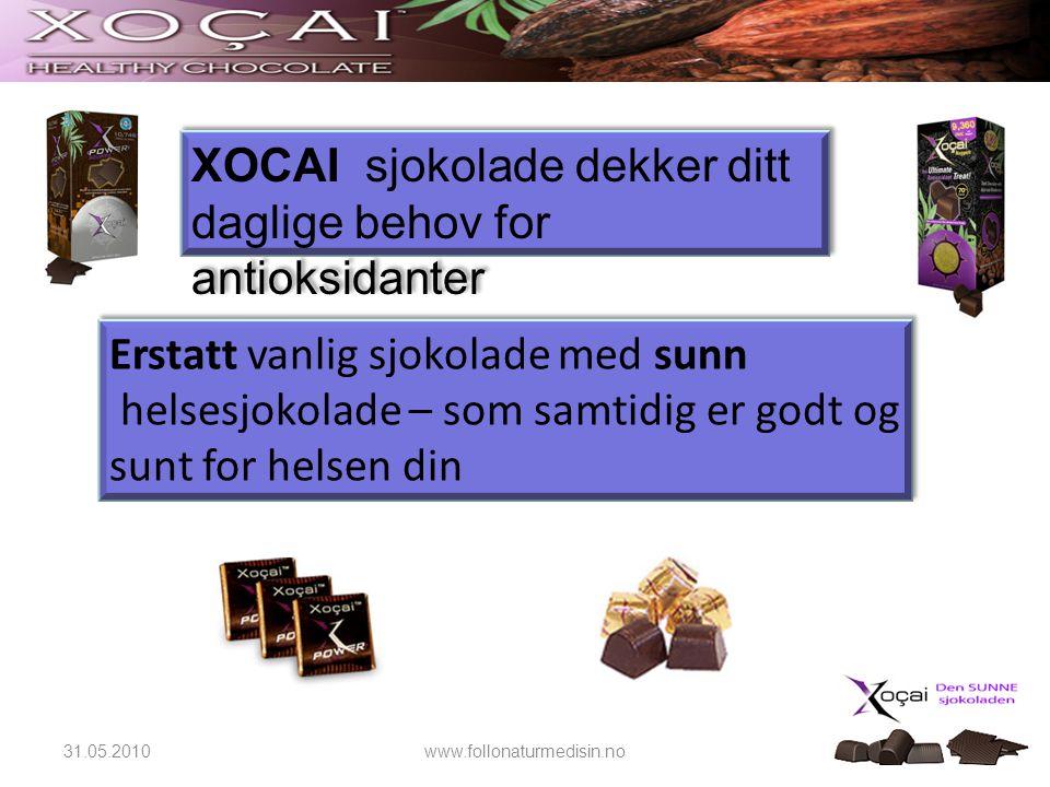 XOCAI sjokolade dekker ditt daglige behov for antioksidanter Erstatt vanlig sjokolade med sunn helsesjokolade – som samtidig er godt og sunt for helse