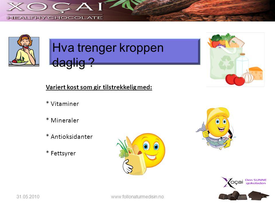 Hva trenger kroppen daglig ? Variert kost som gir tilstrekkelig med: * Vitaminer * Mineraler * Antioksidanter * Fettsyrer 31.05.2010www.follonaturmedi