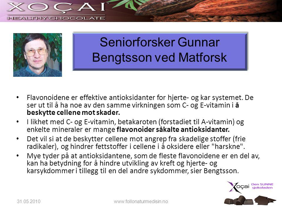 Seniorforsker Gunnar Bengtsson ved Matforsk • Flavonoidene er effektive antioksidanter for hjerte- og kar systemet. De ser ut til å ha noe av den samm