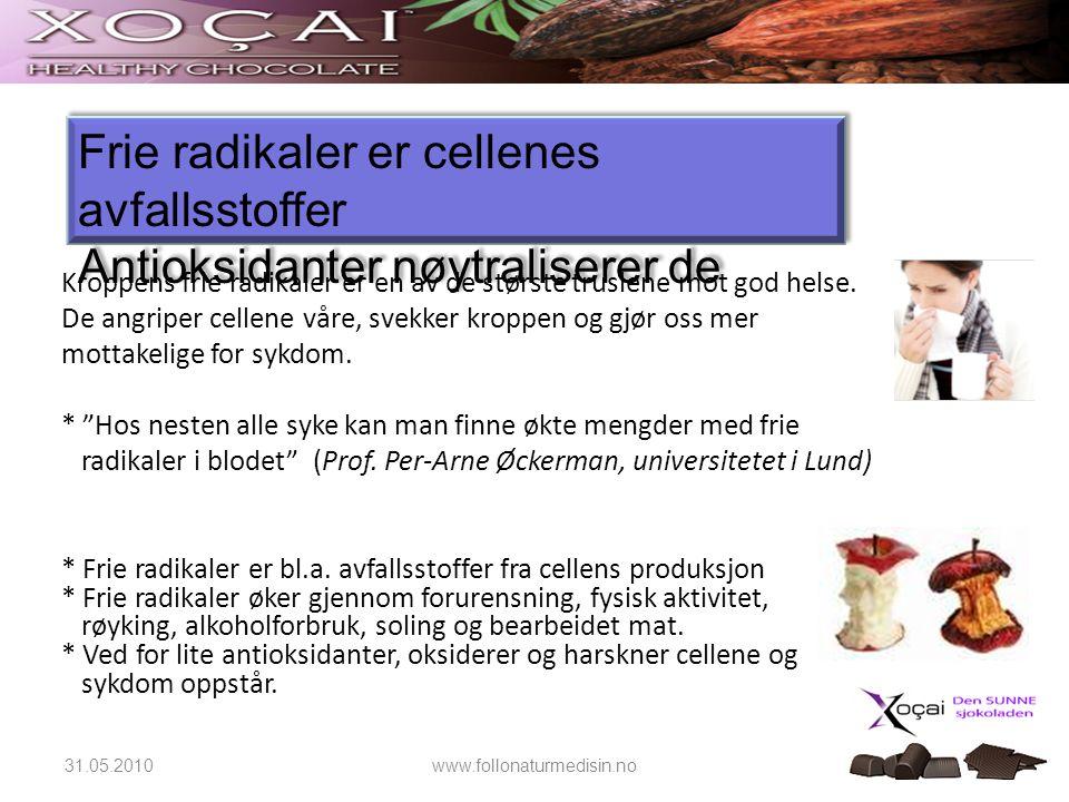 31.05.2010www.follonaturmedisin.no Antioksidanter beskytter kroppen mot frie radikaler.