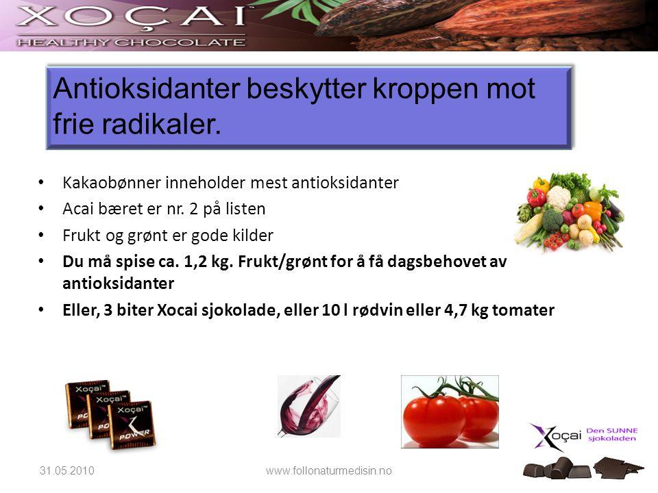 31.05.2010www.follonaturmedisin.no Antioksidanter beskytter kroppen mot frie radikaler. • Kakaobønner inneholder mest antioksidanter • Acai bæret er n