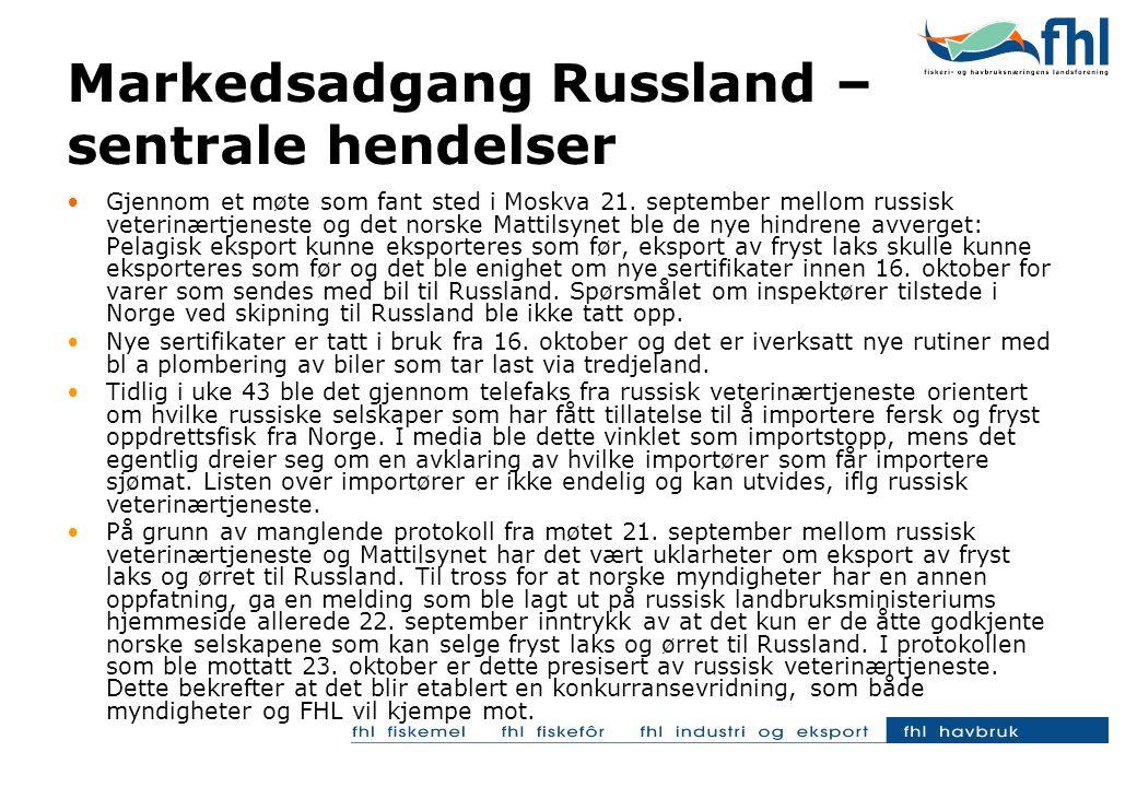 •Gjennom et møte som fant sted i Moskva 21. september mellom russisk veterinærtjeneste og det norske Mattilsynet ble de nye hindrene avverget: Pelagis