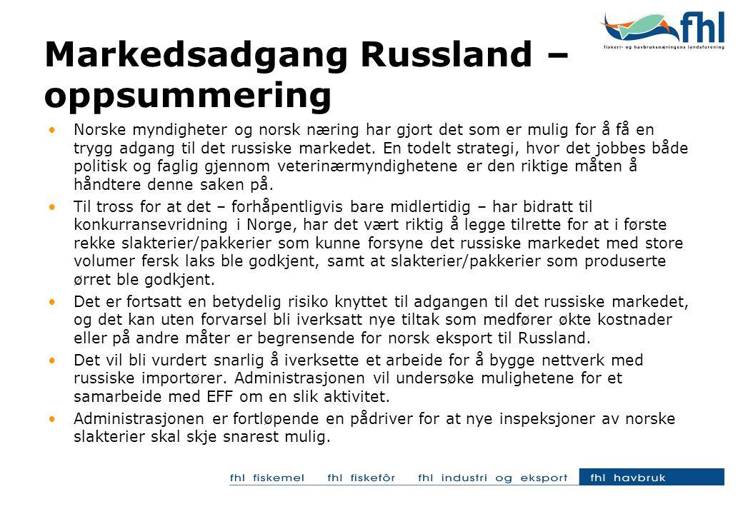•Norske myndigheter og norsk næring har gjort det som er mulig for å få en trygg adgang til det russiske markedet. En todelt strategi, hvor det jobbes