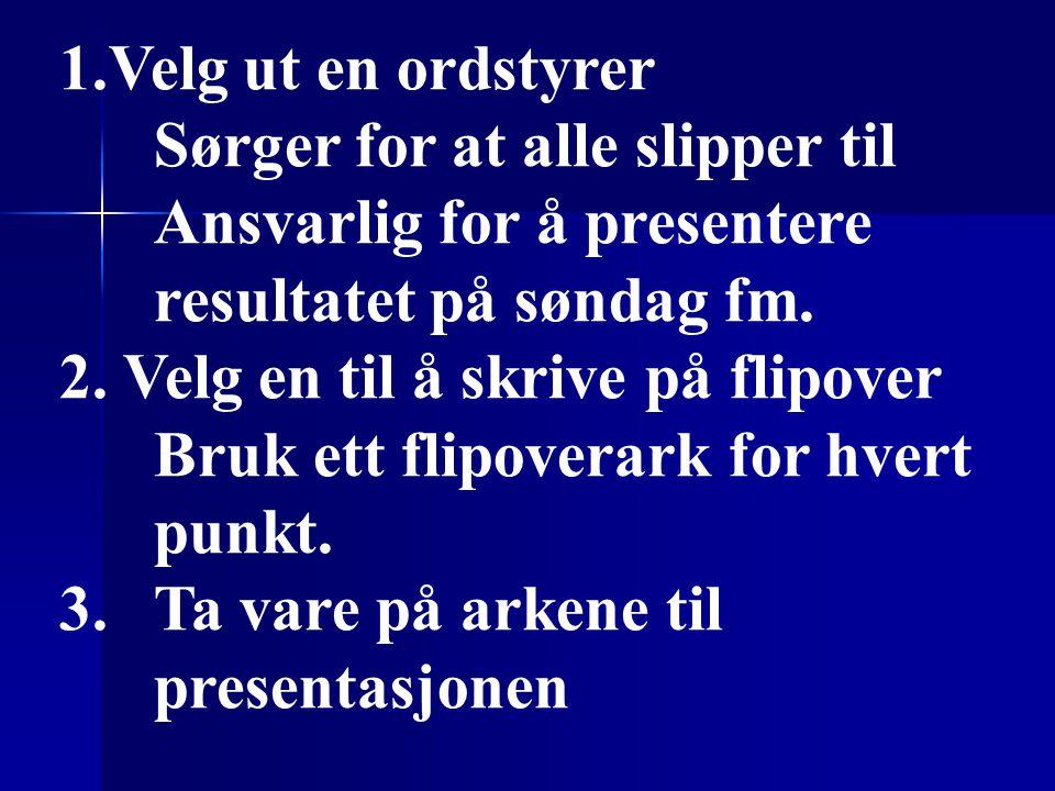 1.Velg ut en ordstyrer Sørger for at alle slipper til Ansvarlig for å presentere resultatet på søndag fm.