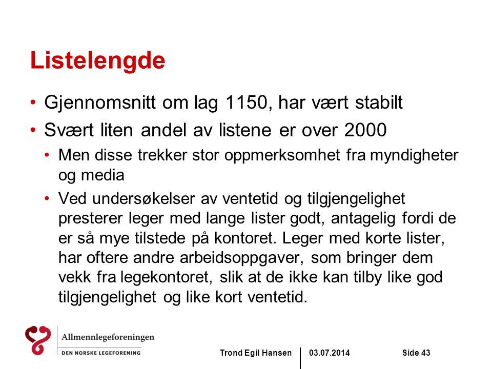 03.07.2014Trond Egil HansenSide 43 Listelengde •Gjennomsnitt om lag 1150, har vært stabilt •Svært liten andel av listene er over 2000 •Men disse trekk