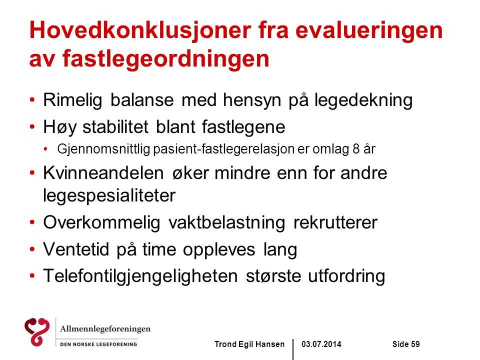 03.07.2014Trond Egil HansenSide 59 Hovedkonklusjoner fra evalueringen av fastlegeordningen •Rimelig balanse med hensyn på legedekning •Høy stabilitet