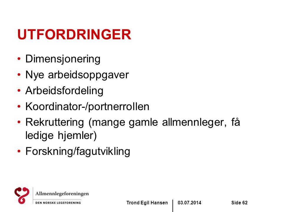 03.07.2014Trond Egil HansenSide 62 UTFORDRINGER •Dimensjonering •Nye arbeidsoppgaver •Arbeidsfordeling •Koordinator-/portnerrollen •Rekruttering (mang