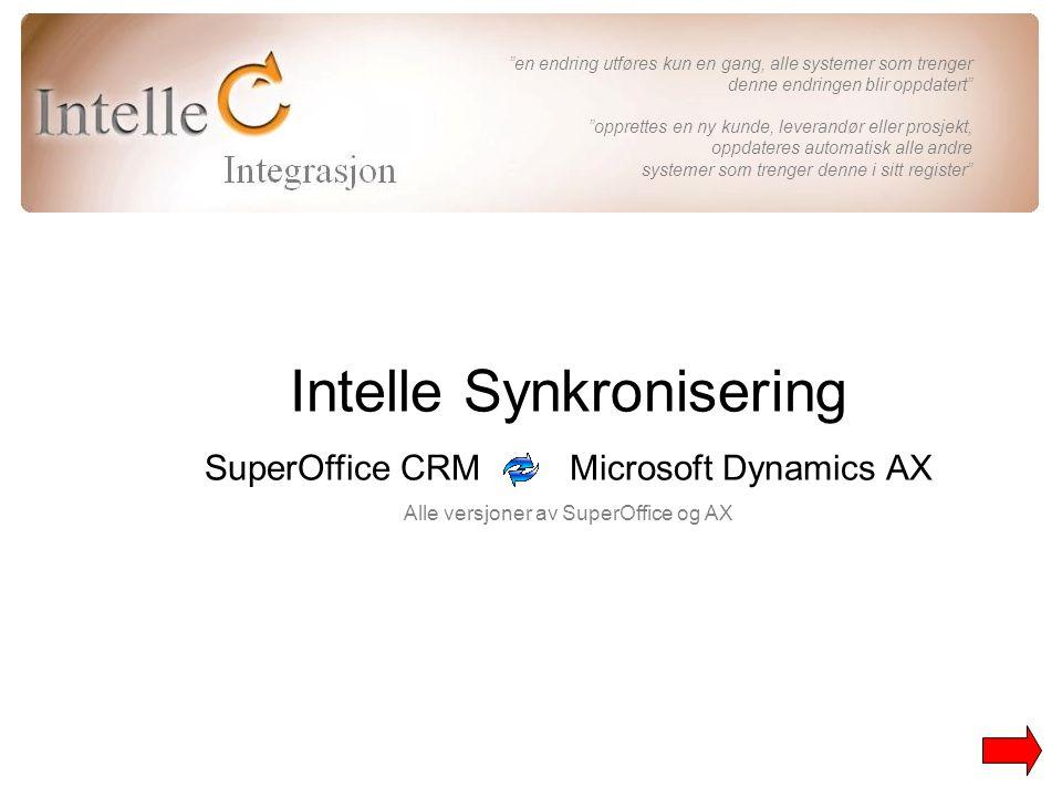 Intelle Synkronisering SuperOffice CRM Microsoft Dynamics AX Alle versjoner av SuperOffice og AX en endring utføres kun en gang, alle systemer som trenger denne endringen blir oppdatert opprettes en ny kunde, leverandør eller prosjekt, oppdateres automatisk alle andre systemer som trenger denne i sitt register