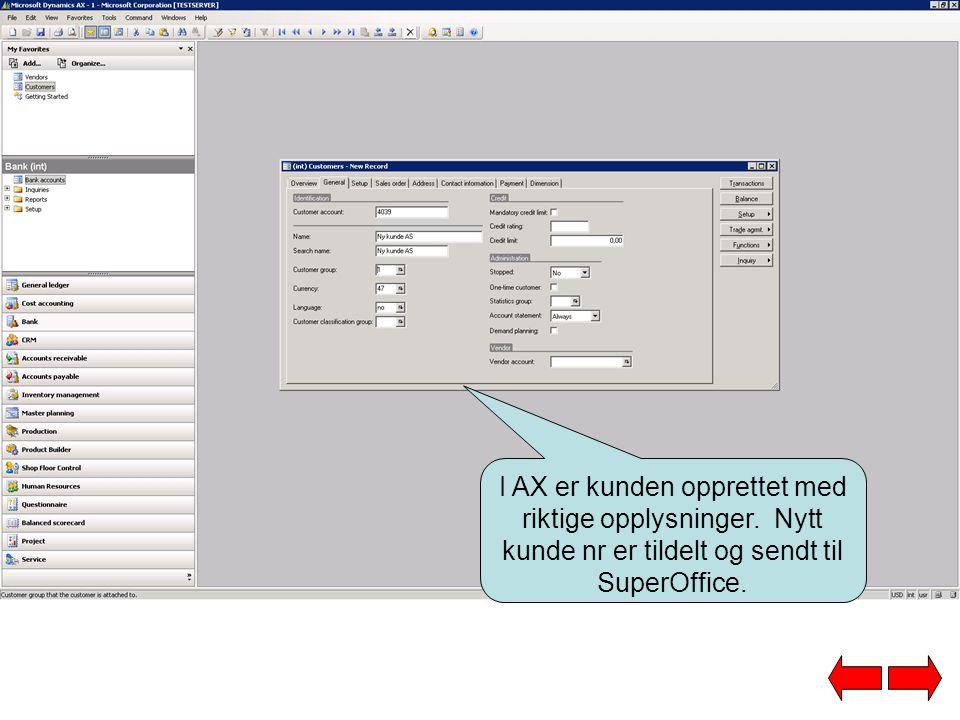 I AX er kunden opprettet med riktige opplysninger.