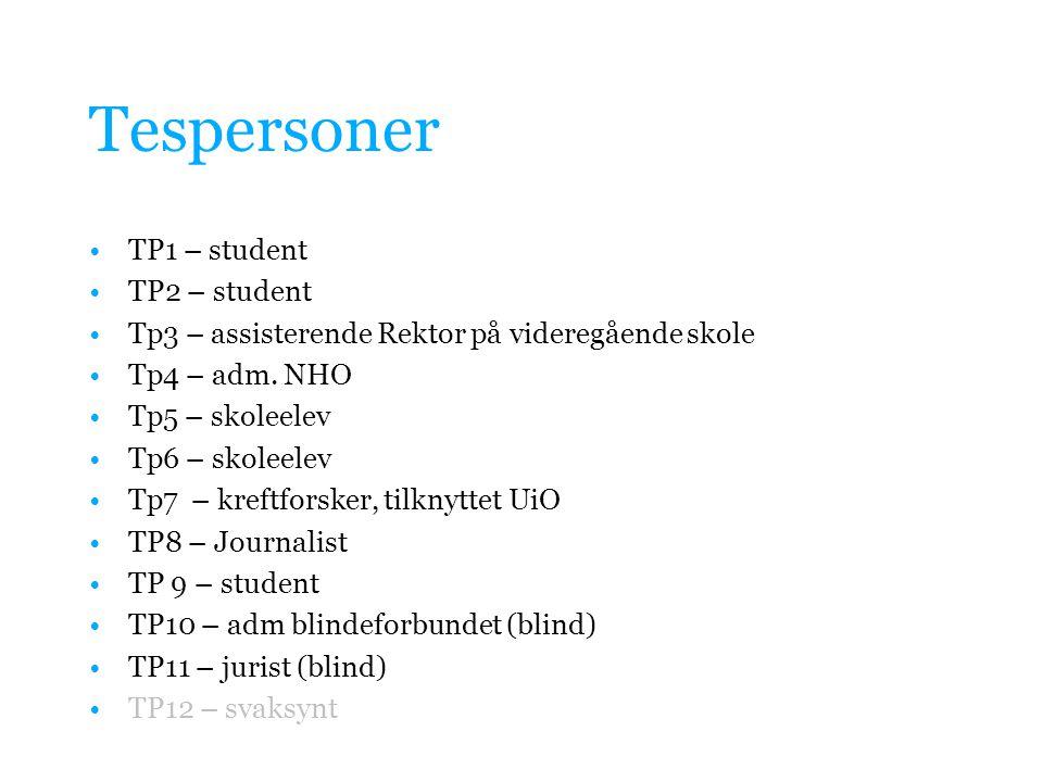 Tespersoner •TP1 – student •TP2 – student •Tp3 – assisterende Rektor på videregående skole •Tp4 – adm.