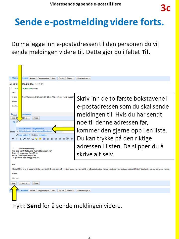 Sende e-postmelding videre forts. Når du har åpnet meldingen, trykk videresend Du må legge inn e-postadressen til den personen du vil sende meldingen