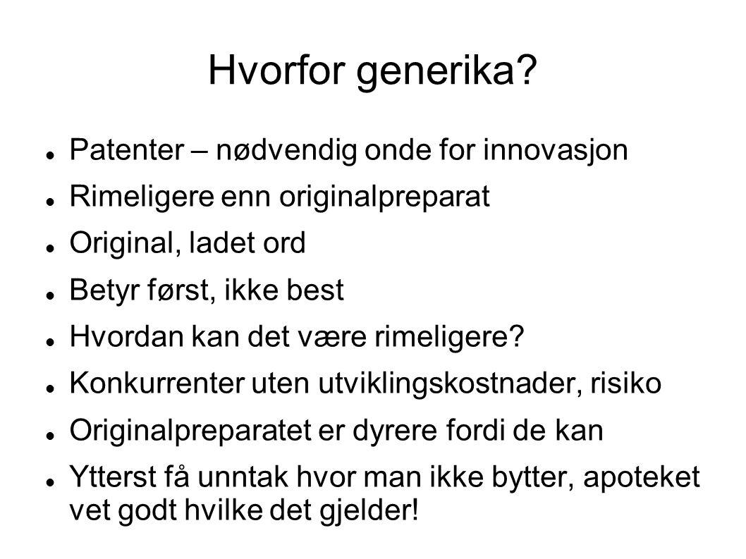 Hvorfor generika?  Patenter – nødvendig onde for innovasjon  Rimeligere enn originalpreparat  Original, ladet ord  Betyr først, ikke best  Hvorda
