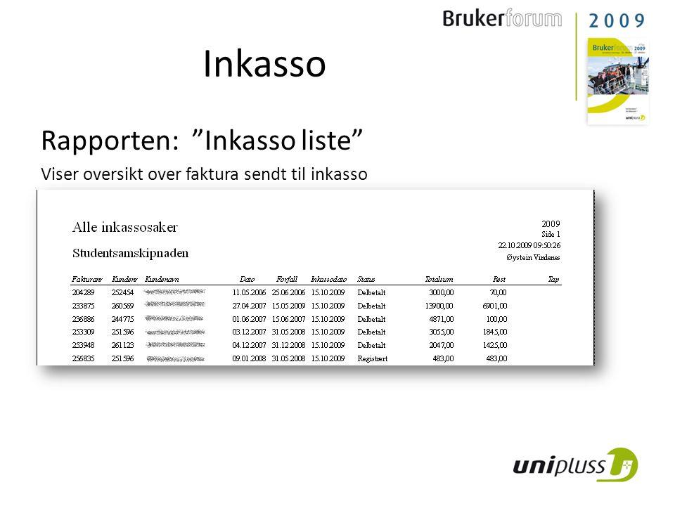 Inkasso Rapporten: Inkasso liste Viser oversikt over faktura sendt til inkasso