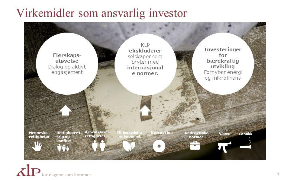 Eierskaps- utøvelse Dialog og aktivt engasjement Investeringer for bærekraftig utvikling Fornybar energi og mikrofinans KLP ekskluderer selskaper som