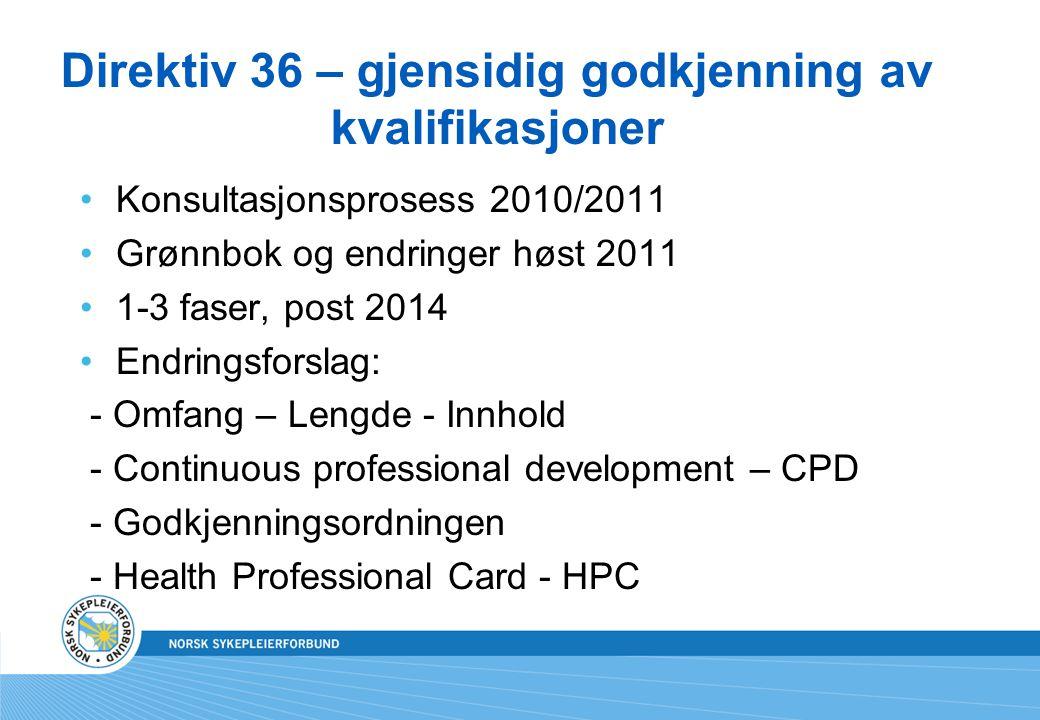 Direktiv 36 – gjensidig godkjenning av kvalifikasjoner •Konsultasjonsprosess 2010/2011 •Grønnbok og endringer høst 2011 •1-3 faser, post 2014 •Endring