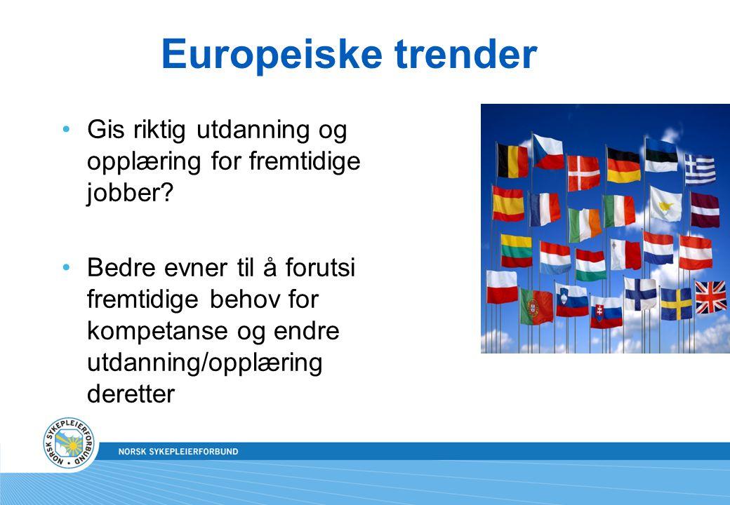 Europeiske trender •Gis riktig utdanning og opplæring for fremtidige jobber? •Bedre evner til å forutsi fremtidige behov for kompetanse og endre utdan
