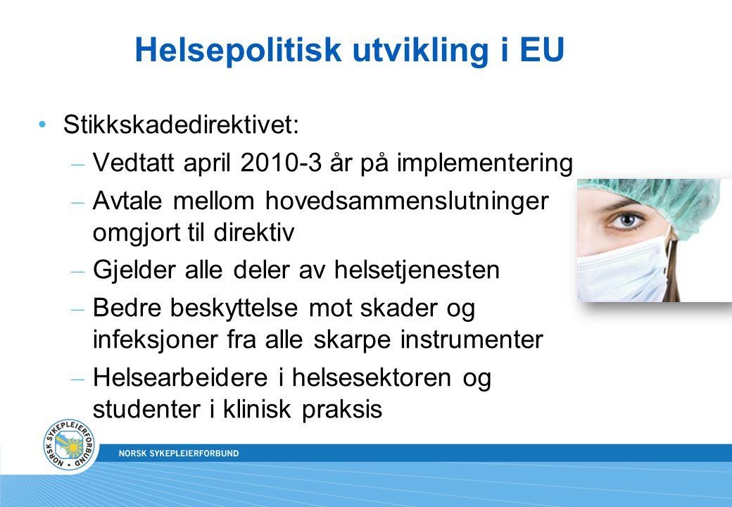 Helsepolitisk utvikling i EU •Stikkskadedirektivet: – Vedtatt april 2010-3 år på implementering – Avtale mellom hovedsammenslutninger omgjort til dire