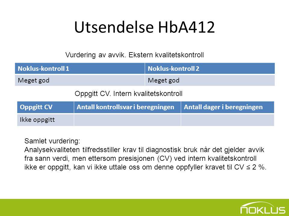 Utsendelse HbA412 Noklus-kontroll 1Noklus-kontroll 2 Meget god Vurdering av avvik.