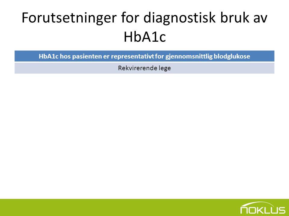 Forutsetninger for diagnostisk bruk av HbA1c HbA1c hos pasienten er representativt for gjennomsnittlig blodglukose Rekvirerende lege ↓ HbA1c-metoden er sporbar til IFCCs referansemetode Diagnostisk industri og laboratorium ↓ Laboratoriet oppfyller kvalitetskriteriene for diagnostisk HbA1c-testing Laboratorium i samarbeid med NOKLUS