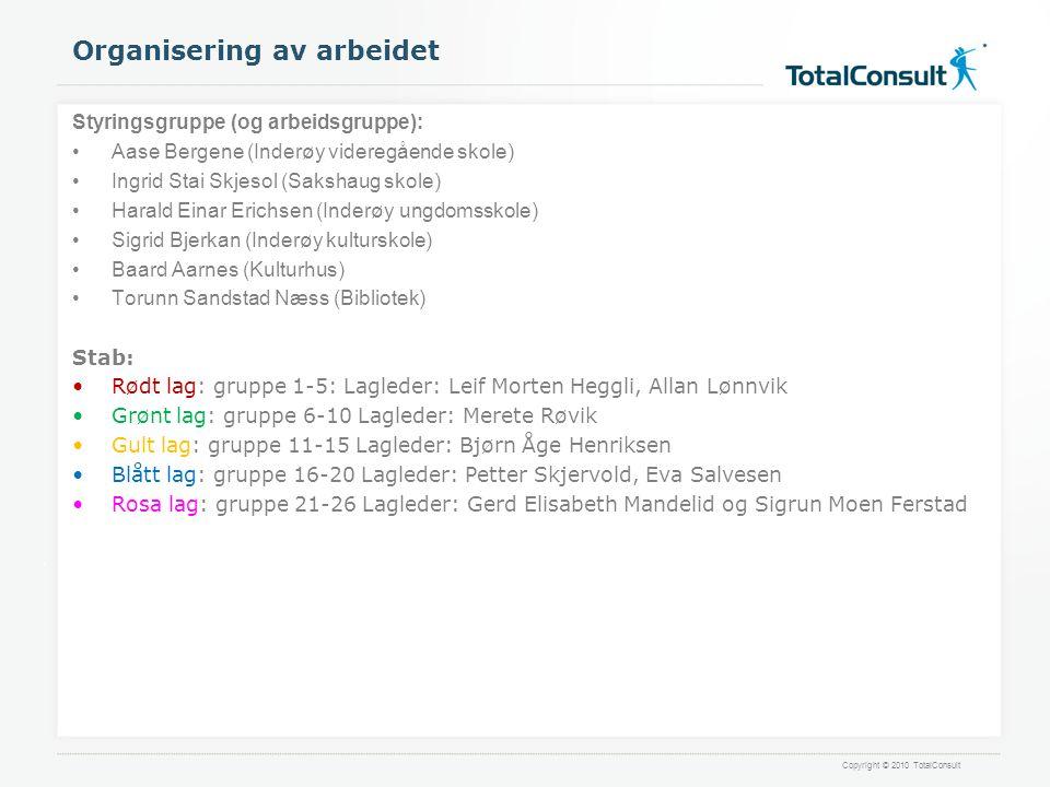 Copyright © 2010 TotalConsult Organisering av arbeidet Styringsgruppe (og arbeidsgruppe): •Aase Bergene (Inderøy videregående skole) •Ingrid Stai Skje