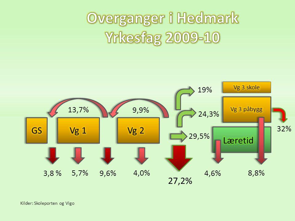 13,7% 9,9% 5,7% 9,6% 4,0% 27,2% 24,3% 8,8% 4,6% 3,8 % 32% 19% 29,5% Kilder: Skoleporten og Vigo