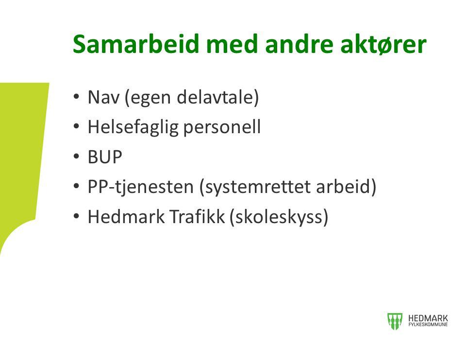 • Nav (egen delavtale) • Helsefaglig personell • BUP • PP-tjenesten (systemrettet arbeid) • Hedmark Trafikk (skoleskyss) Samarbeid med andre aktører