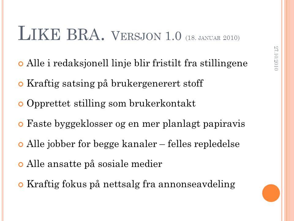 L IKE BRA. V ERSJON 1.0 (18. JANUAR 2010) Alle i redaksjonell linje blir fristilt fra stillingene Kraftig satsing på brukergenerert stoff Opprettet st