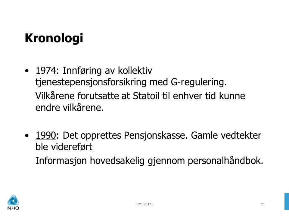 DM 17914123 Kronologi •1974: Innføring av kollektiv tjenestepensjonsforsikring med G-regulering. Vilkårene forutsatte at Statoil til enhver tid kunne