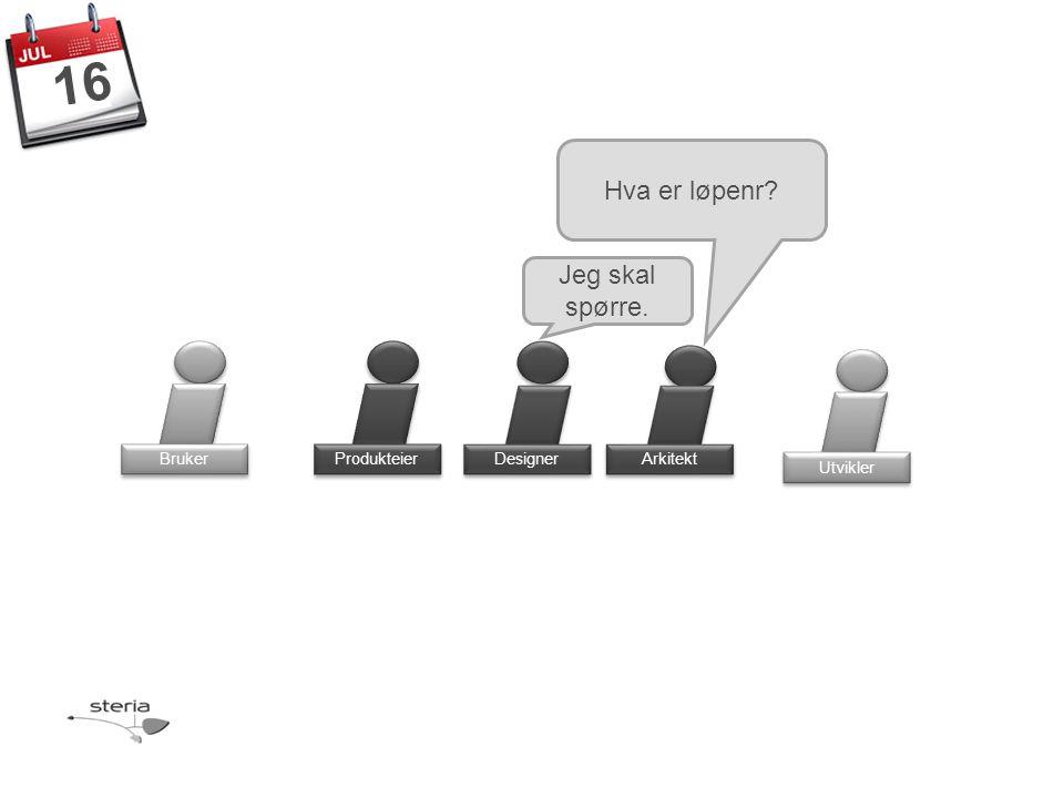 Produkteier Bruker Designer Arkitekt Utvikler 16 Hva er løpenr Jeg skal spørre.