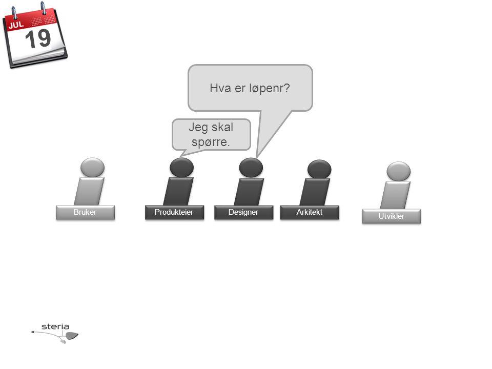 Produkteier Bruker Designer Arkitekt Hva er løpenr Utvikler 19 Jeg skal spørre.