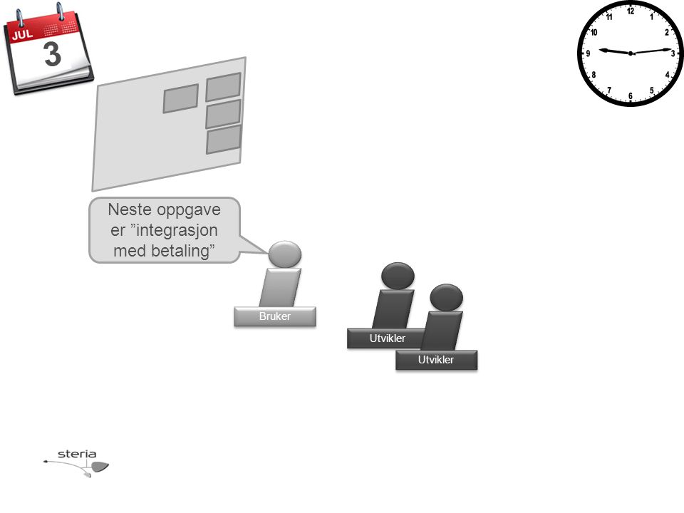 Neste oppgave er integrasjon med betaling Utvikler Bruker 3