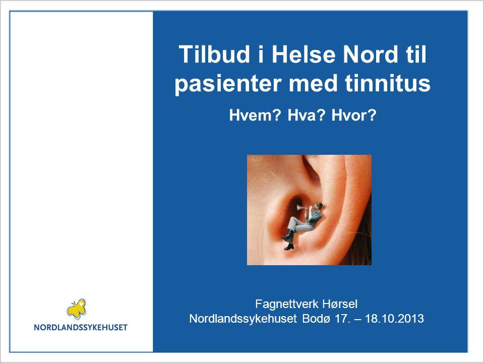 Tilbud i Helse Nord til pasienter med tinnitus Hvem? Hva? Hvor? Fagnettverk Hørsel Nordlandssykehuset Bodø 17. – 18.10.2013