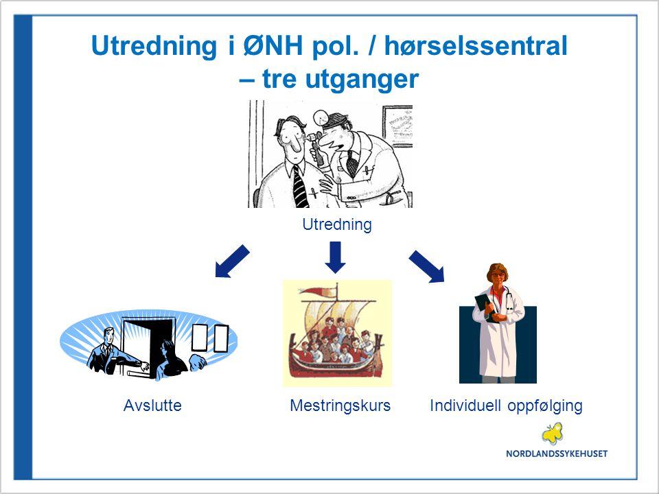 Utredning i ØNH pol. / hørselssentral – tre utganger Utredning AvslutteMestringskursIndividuell oppfølging