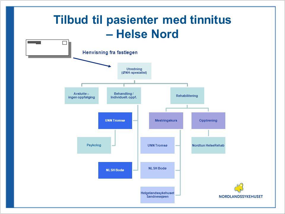 Tilbud til pasienter med tinnitus – Helse Nord Utredning (ØNH-spesialist) Avslutte – ingen oppfølging Behandling / Individuell. oppf. UNN Tromsø Psyko