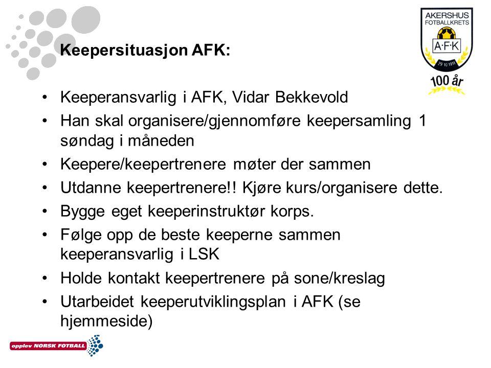 Keepersituasjon AFK: •Keeperansvarlig i AFK, Vidar Bekkevold •Han skal organisere/gjennomføre keepersamling 1 søndag i måneden •Keepere/keepertrenere